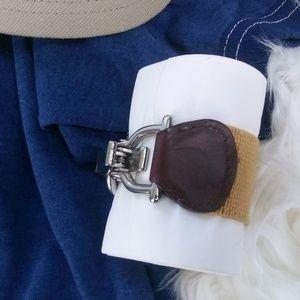 Vintage Jewelry - Vintage Steampunk Buckle & Strap Bracelet Cuff